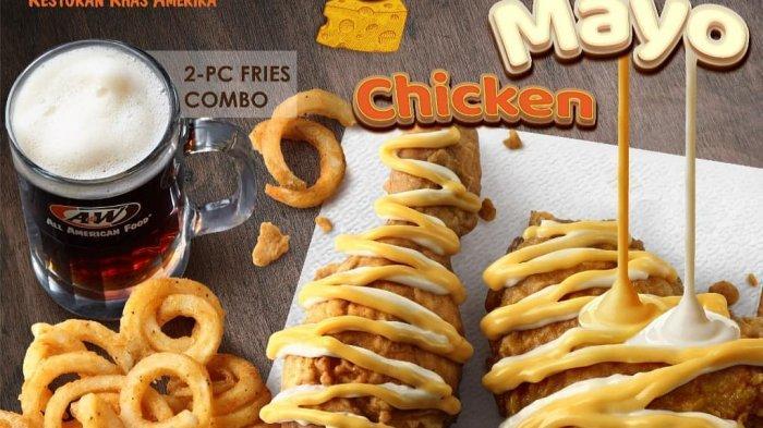 Restoran khas Amerika A&W hadirkan new cheezy mayo chicken yang perpaduan cheese sauce dan mayo sauce yang gurih dengan harga mulai Rp 39,5 ribu.