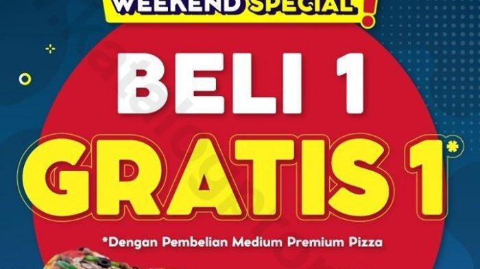 Jangan lewatkan promo hari terakhir spesial akhir pekan Domino's Pizza, beli 1 gratis 1 dengan pembelian medium premium pizza untuk semua menu.