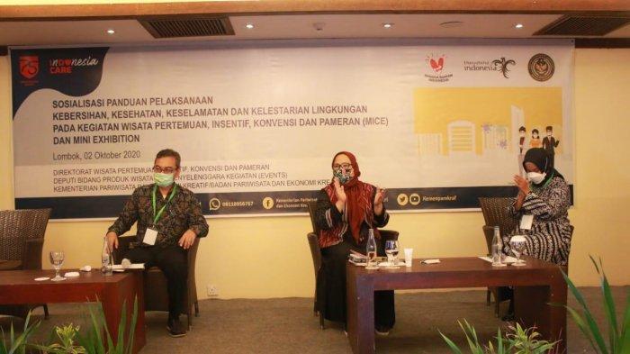 Kemenparekraf/Baparekraf gelar simulasi penerapan protokol kesehatan berbasis CHSE pada wisata MICE di Lombok, Nusa Tenggara Barat (NTB).