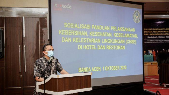 Kemanparekraf/Baparekraf mendorong pelaku pariwisata yang bergerak di bidang hotel dan restoran di Aceh agar menerapkan sertifikasi Indonesia Care.