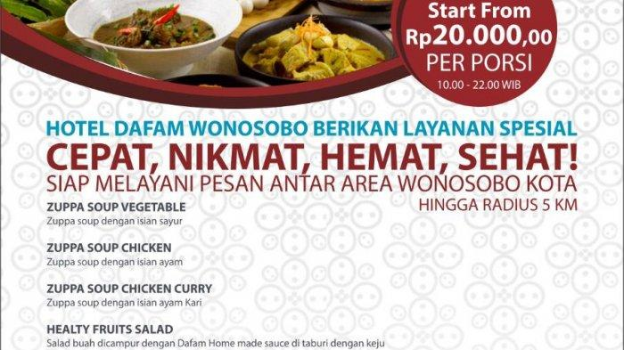 Nikmati Layanan Pesan-Antar Makanan Hotel Dafam Wonosobo, Harga Mulai Rp 20 Ribu dan Gratis Ongkir