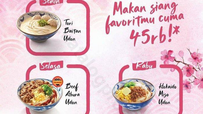 Marugame Udon tawarkan promo makan siang hemat, hanya Rp 45 ribu untuk pembelian melalui pesan bawa pulang, Gofood, dan Grabfood untuk 7 menu pilihan.