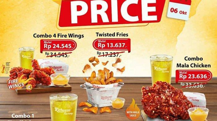 Promo Richeese Factory special price combo fire chicken berlaku hanya 6 Oktober 2020 sepanjang hari untuk pembelian melalui Gofood dan Grabfood.