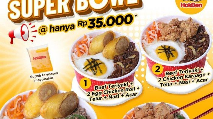 Promo Super Bowl Hokben terbaru berupa beef yakiniku rice bowl hanya Rp 35 ribu yang terdiri atas nasi, lauk beef, telur mata sapi, fried, dan acar.