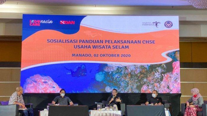 Kemenparekraf/Baparekraf mengimbau para pelaku usaha wisata selam untuk menerapkan protokol kesehatan berbasis CHSE di bidang pariwisata.
