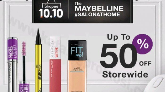Shopee 10.10 Brands Festival 14 September-10 Oktober 2020, dapatkan diskon sampai 50% untuk produk Maybelline. Dapatkan pula gratis ongkos kirim.