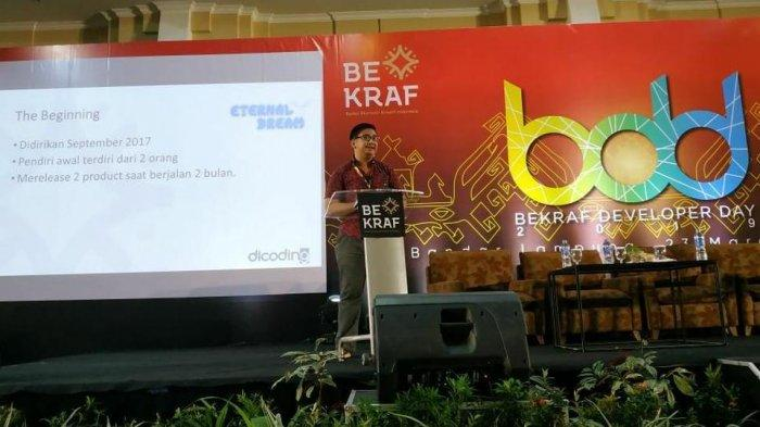Potret founder Eternal Dream Studio Lucky Putra Dharmawan di acara Bekraf Developer Day.