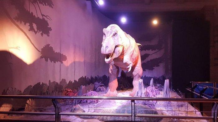 Replika Tyrannosaurus rex atau T-rex di Dinosaurs Hall di Natural History Museum London, Senin (6/11/2017). Replika ini memberikan sensasi berjumpa dengan T-rex kepada pengunjung.