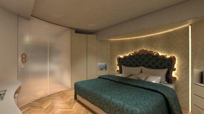 Tempat tidur yang tersedia di dalam karavan