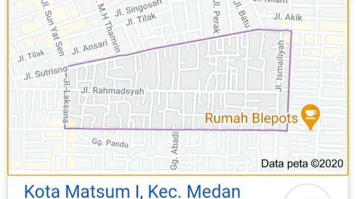 Peta Kawasan Kota Maksum Saat ini di Kota Medan, Foto diambil dari Google, Jumat (25/9/2020)
