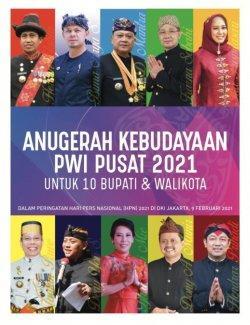 10 kepala daerah penerima Anugerah Kebudayaan PWI Pusat.
