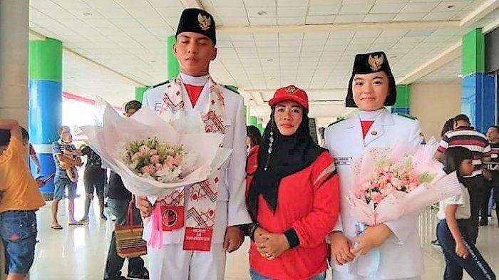 Dua Anggota Paskibraka Asal Sulut Ini Tiba di Bandara Sam Ratulangi Manado