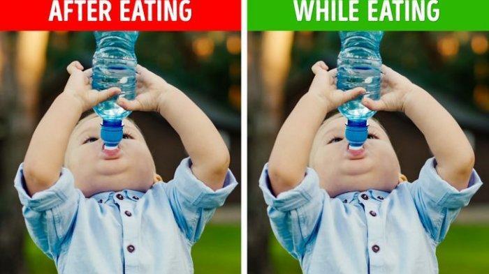 Meminum segelas air setelah makan besar.