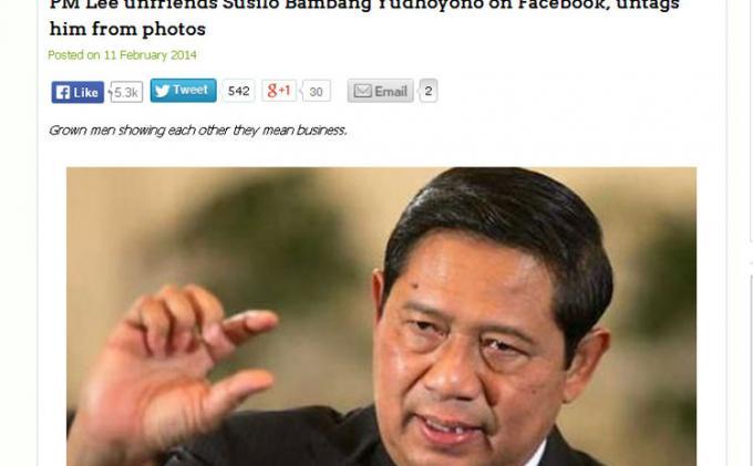 PM Singapura Hapus SBY dari Daftar Teman Facebooknya Hoax