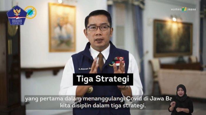 Ridwan Kamil saat menjelaskan 3 benteng utama yang diterapkan Provinsi Jawa Barat dalam melawan virus corona baru (Covid-19).