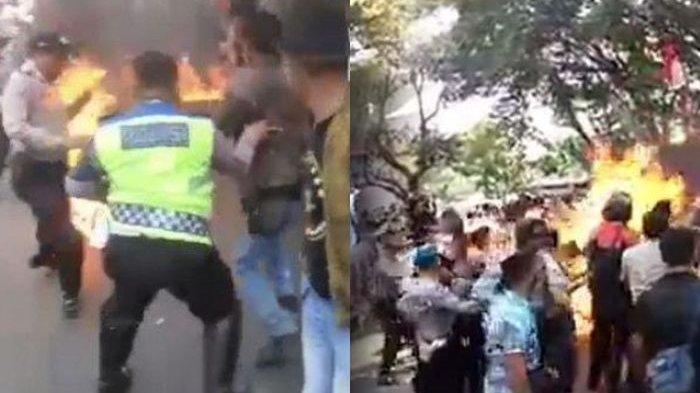 Demo Mahasiswa di Cianjur Berujung Ricuh, Ada Aksi Bakar Ban hingga Buat 3 Polisi Tersambar Api dan Alami Luka Bakar Serius