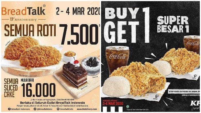 Promo Restoran Minggu Ini: Semua Roti di BreadTalk Cuma Rp 7.500, KFC Beli 1 Gratis 1