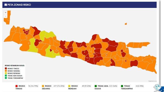 37 Daftar Wilayah yang Masuk Zona Merah Risiko Tinggi Penyebaran Covid-19 di Pulau Jawa