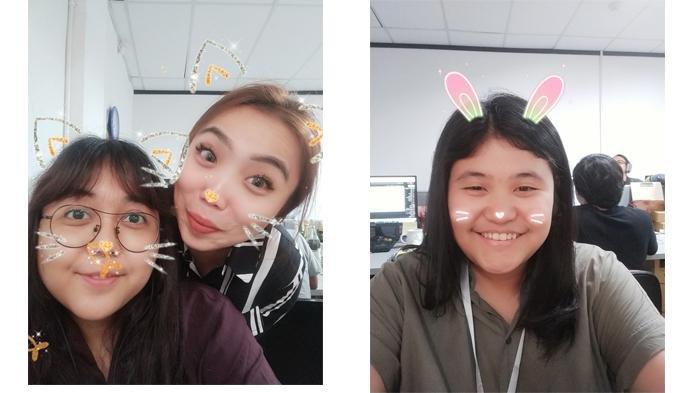 Selfie terasa makin menyenangkan berkat fitur sticker.