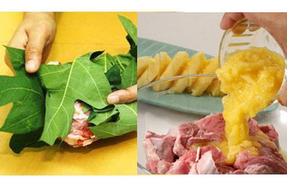Mengempukkan daging kambing dengan daun pepaya dan buah nanas