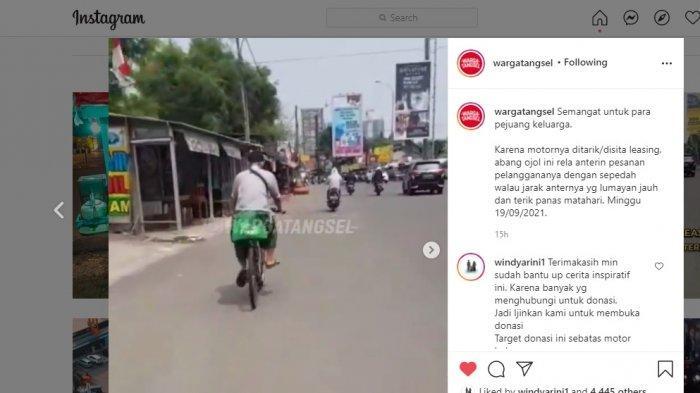 Motor Ditarik Leasing, Abang Ojol Ini Anterin Pesanan Pelanggan Dengan Mengayuh Sepeda Tempuh 8 Kilo