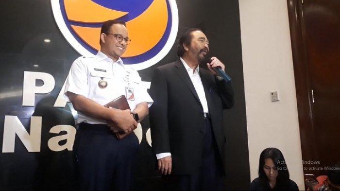 Ketua Umum Partai NasDem Surya Paloh dan Gubernur DKI Jakarta Anies Baswedan