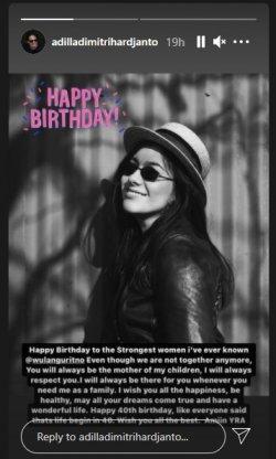 Adilla Dimitri beri ucapan ulang tahun untuk Wulan Guritno