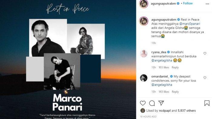 Agung Saputra membagikan kabar duka meninggalnya Marco Panari