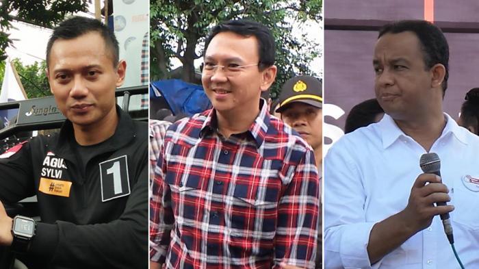 Calon Gubernur DKI Jakarta pada Pilkada 2017, Agus Harimurti Yudhoyono atau Agus Yudhoyono, Basuki Tjahaja Purnama atau Ahok, dan Anies Baswedan.