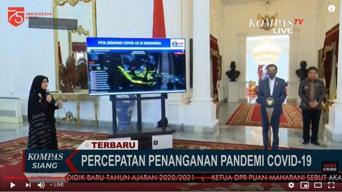 Ahli epidemiologi Dewi Aisyah memaparkan tentang data Covid-19 di hadapan Presiden Jokowi, Rabu (24/6/2020)