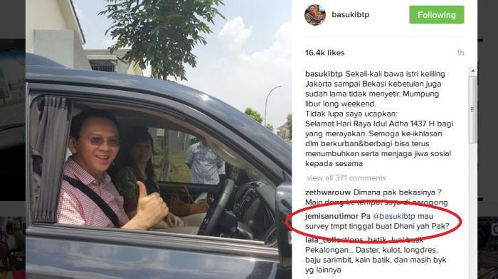 Ahok Ajak Istri Jalan-jalan ke Bekasi, Netizen: Mau Survei Tempat Tinggal Buat Dhani Ya Pak?