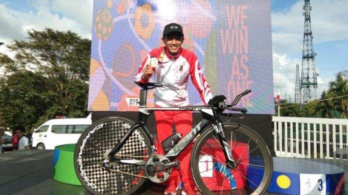Aiman Cahyadi suskes memecah telur emas untuk kontingen Indonesia balap sepeda di SEA Games 2019 setelah menjadi yang tercepat pada nomor individual time trial (ITT) putra di Praying Hans Monumen, Tagaytay City, Filipina, Kamis (5/12/2019).dok: PB ISSI