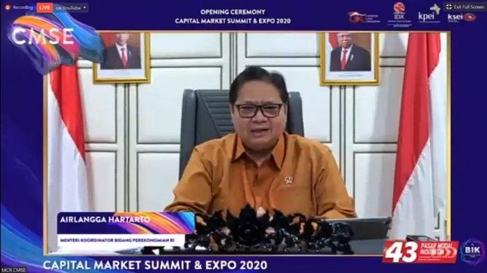 (capture Youtube) Menteri Koordinator Bidang Perekonomian Airlangga Hartarto dalam Capital Market Summit & Expo 2020 yang digelar secara virtual, Senin (19/10/2020).