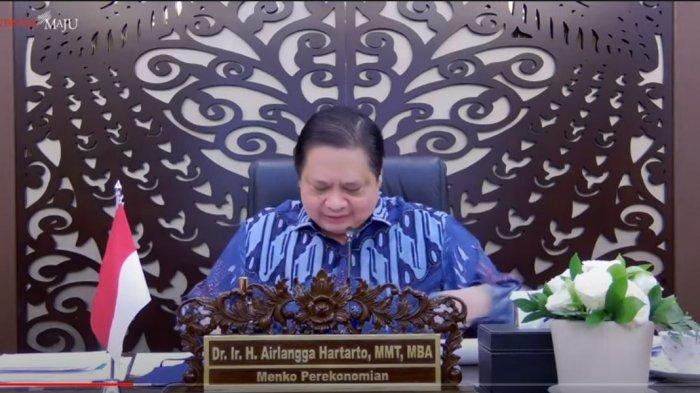 Airlangga Hartarto pada Konferensi Persnya terkait PPKM Mikro, Senin (21/6/2021).