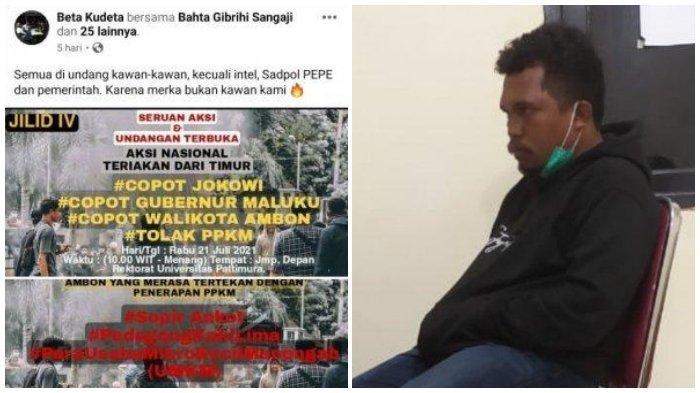 (Kiri) Postingan milik Risman Soulissa dan (Kanan) Risman Soulissa saat diamankan polisi.