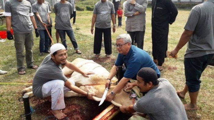 Akil Mochtar berpose saat proses penyembelihan hewan kurban di Lapas Sukamiskin. Jumat (1/9/2017).
