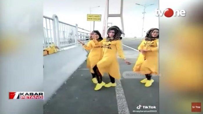 Joget TikTok di Jembatan Suramadu Viral, Tiga Wanita Ini Akhirnya Minta Maaf, Polisi Beri Sanksi