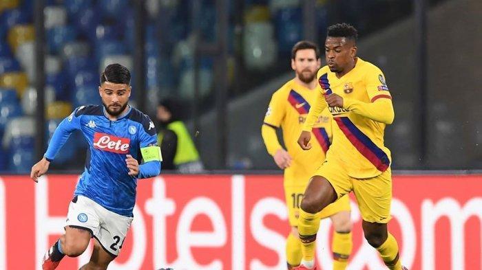 Aksi Lorenzo Insigne ketika Napoli bertemu Barcelona di leg pertama babak 16 besar Liga Champions musim ini