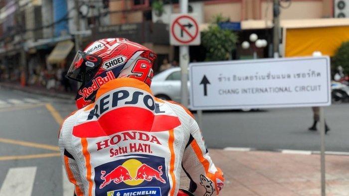 Aksi Marc Marquez di jalanan kota Buriram menjelang MotoGP Thailand 2019