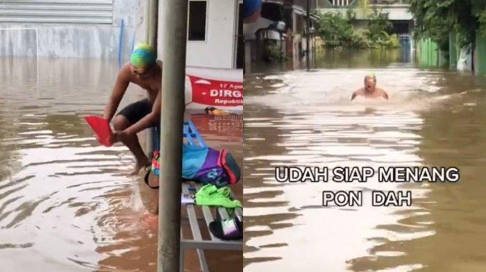 VIRAL Aksi Pemuda Nekat Berenang di Genangan Banjir Bak Atlet Profesional, Akui Tak Ada Rasanya