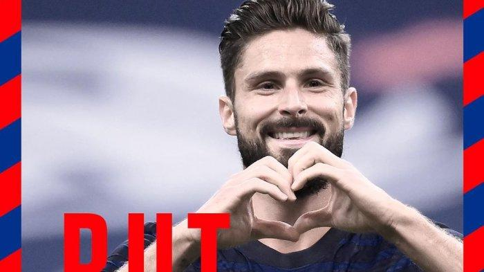 Aksi striker Chelsea Olivier Giroud bersama Timnas Prancis