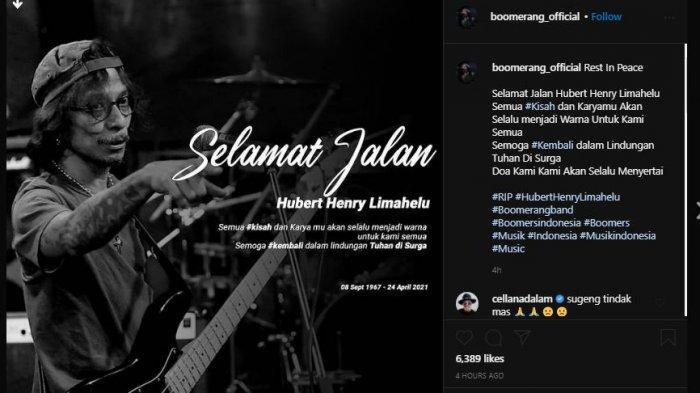 Akun Instagram Boomerang membagikan potret hitam putih mendiang Hubert Henry Limahelu.