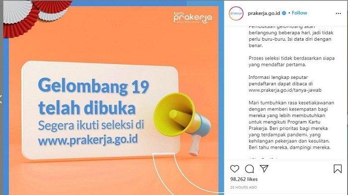 AKSES www.prakerja.go.id untuk Daftar Kartu Prakerja Gelombang 19, Berikut Syaratnya