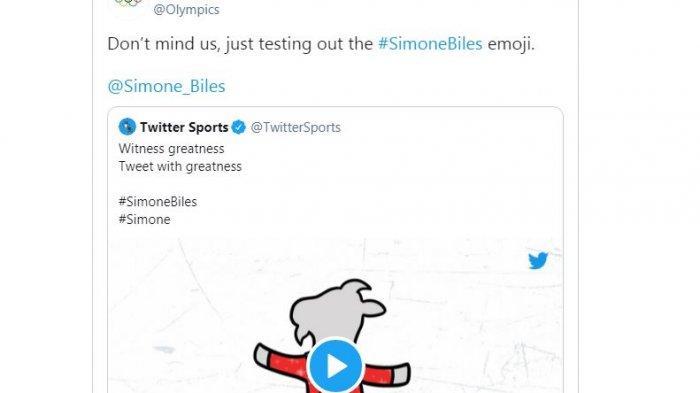 Akun resmi twitter Olimpiade Tokyo 2021 mencoba emoji Simon Biles.