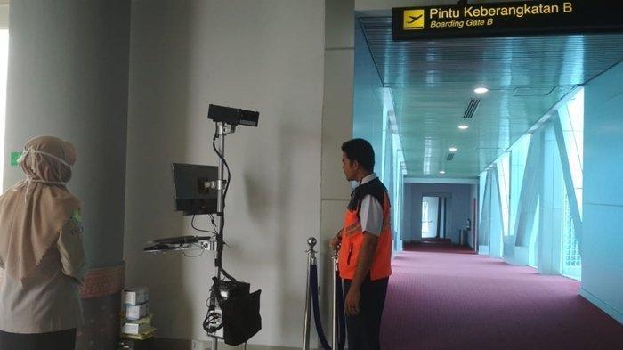 Alat Thermal Scanner yang sudah disiapkan di Bandara Sultan Machmud Badaruddin II Palembang.