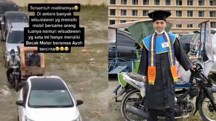 Viral Wisudawan Diantar sang Ayah Pakai Becak Motor, Teman-temannya Diantar Pakai Mobil