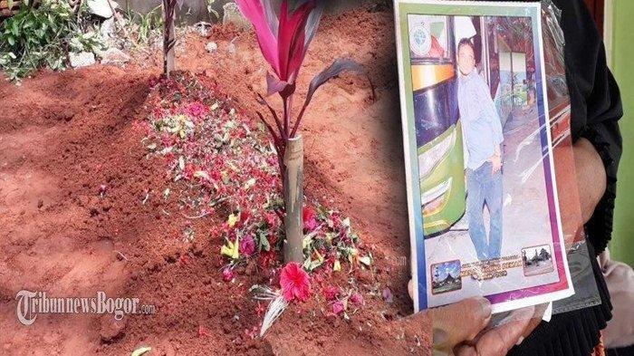 Almarhum Dede Purnama (41) korban kecelakaan maut asal Kampung Cikuda, RT 35/16, Desa Bojongnangka, Kecamatan Gunungputri, Kabupaten Bogor dimakamkan, Minggu (19/1/2020).