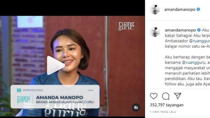 Amanda Manopo pemeran Andin di Ikatan Cinta terpilih sebagai brand ambassador Ruangguru. (Instagram @amandamanopo)