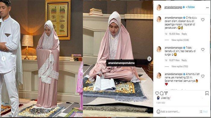 Amanda Manopo bikin heboh pakai mukena lalu ibadah bareng Arya Saloka, ternyata hanya iklan produk terbarunya