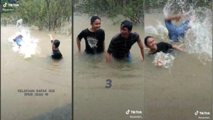 Lagi Viral, AKSI Bapakbapak Salto di Tengah Banjir Viral, Langsung Berulah karena Sadar Direkam